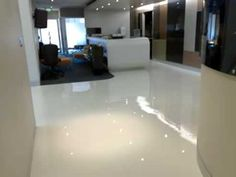 Seamless epoxy flooring from All About Floors - White Lite & Metallic Medley