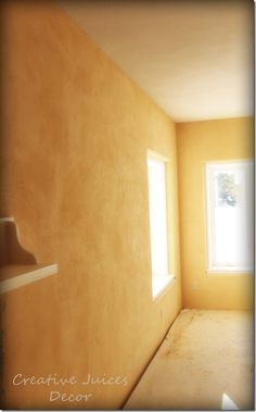 Tuscan Gold American Clay over Concrete - glowing kitchen yellow color of plaster All natural no VOC's Green