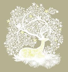 """Tree Stag"" Curled up and frosty white."
