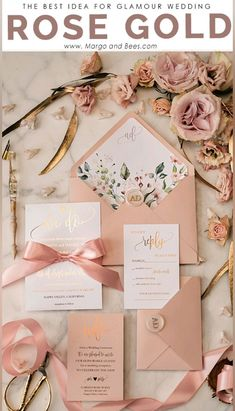 Glamour wedding invitations with flowers springweddingideas flowerinvitations goldinvitations blushwedding 349943833548638757 Handmade Wedding Invitations, Gold Wedding Invitations, Wedding Invitation Suite, Wedding Stationery, Wedding Cards, Personalized Invitations, Personalized Wedding, Invites, Acrylic Invitations