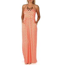 Neon+Orange+Chevron+Maxi+Dress