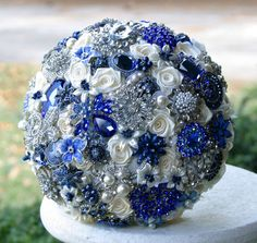Royal Blue Wedding Brooch Bouquet. Deposit on made to order Sapphire Blue Heirloom Broach Bouquet on Etsy, $75.00