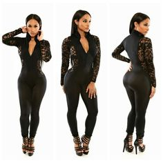 b29ea2a535 Long Sleeve Lace Women macacao feminino Hollow Out Black Bodycon Stretch  Clubwear Chocker Romper Jumpsuit Party