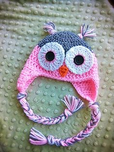 Crochet Owl Baby Hat size 0-3 months baby by KimmyCakesCrochets