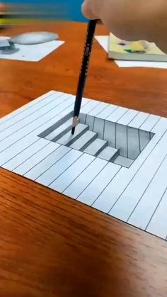 3d Pencil Drawings, 3d Art Drawing, Art Drawings Sketches Simple, Easy 3d Drawing, Stairs 3d Drawing, 3d Pencil Art, 3d Drawing Tutorial, Pencil Sketches Easy, Pencil Sketch Drawing