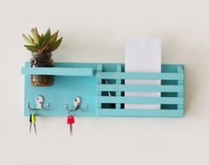Beautiful wooden mail organizer with key hanger by APT8ecodesign