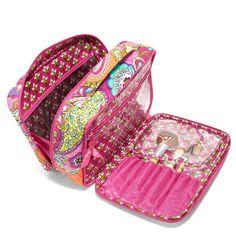 Large Blush & Brush Makeup Case in Pink Swirls, $52 | Vera Bradley