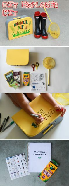 A DIY Explorer Kit promotes outside adventure, a love of nature and scientific exploration and observation. Makes a great, personalized gift too!