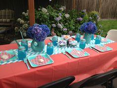 Mermaid party table, #bluemasonjars