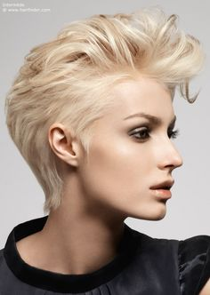 short haircut with brushed back styling