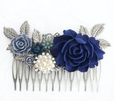 Hey, I found this really awesome Etsy listing at https://www.etsy.com/dk-en/listing/481542800/blue-wedding-comb-silver-bridal-hair