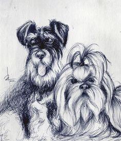 Peanut & Bugsy : : Ballpen drawing : : 2013 : : Michael Fallarme