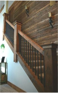 16 Creative Stair Railing Ideas To Develop a Focal Point in Your Home Rustic Staircase, Staircase Railings, Staircase Design, Banisters, Staircase Remodel, Staircase Makeover, Basement Makeover, Barndominium, Design Hall