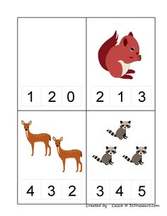 Forest animals math activities for preschoolers Animal Worksheets, Kids Math Worksheets, Preschool Printables, Kindergarten Math, Math Activities, Preschool Activities, Teaching Kids, Kids Learning, Montessori Math