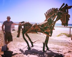 Wayne Markwort pictured with his wonderful sculpture Warhorse  Swell Sculpture Festival  #GoldCoast 13-22 Sept 2013 http://www.swellsculpture.com.au/index.php