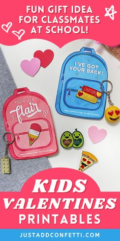 Get ready for Valentine's Day with these cute printables. Perfect kids valentines for school and Valentine's Day classroom parties. These DIY printable backpack valentine cards come in two color and wording options. They're available in my Just Add Confetti Etsy shop. Just pair them with a little flair — keychain, enamel pin, button or patch — for an adorable non-candy, non-food valentine gift! Also, head to justaddconfetti.com for even more cute and simple kids valentines and party ideas.