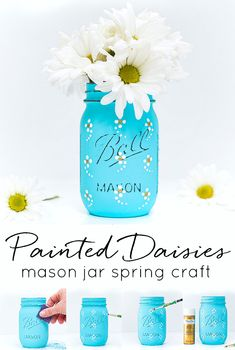 Painted Daisy Mason Jar - Mason Jar Crafts Love