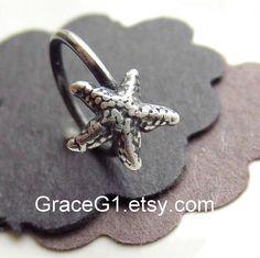 starfish cartilage earrings cartilage hoop earrings by GraceG1