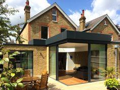 minimal windows® in house extensions House Extension Design, Glass Extension, Roof Extension, Extension Ideas, Corner Window Seats, Interior Window Trim, Architects London, Richmond Park, Roof Light