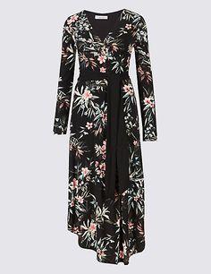 Floral Print Long Sleeve Wrap Dress