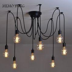 63.90$  Watch here - http://ai4hw.worlditems.win/all/product.php?id=32756179548 - Modern Nordic Retro Edison Bulb Light Chandelier Vintage Loft Antique Adjustable DIY E27 Art Spider Pendant Lamp Home Lighting