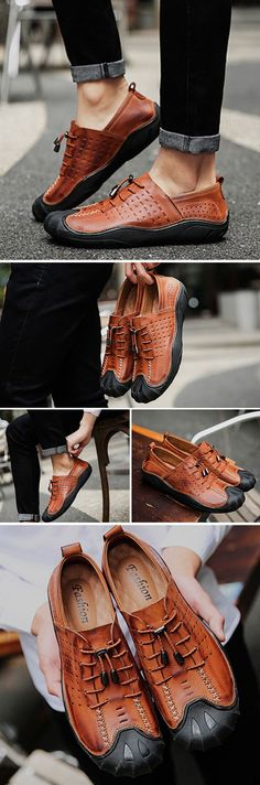 US$54.92#Men Vintage Genuiner Leather Anti-collision Toe Soft Lace Up Casual Shoes