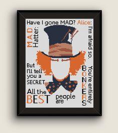 BoGo Pattern cross stitch Mad Hatter's Quote Instant Download, Cross-Stitch PDF, Needlework, Needlecraft, Embroidery, Digital #036