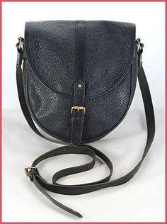 MULBERRY Vintage Black Leather & Scotchgrain Saddle/Satchel Shoulder Bag