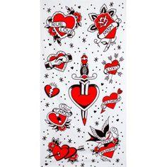 Serviette de Plage Flash Tattoo Sourpuss 19,90€ Serviette de Plage aux motifs tatouages old school sur fond blanc comprenant des coeurs, hirondelles, dagues et les inscriptions, true love, xoxo, sweetheart, love always, .... Taille: 142 x 74 cm. www.freakypink.com