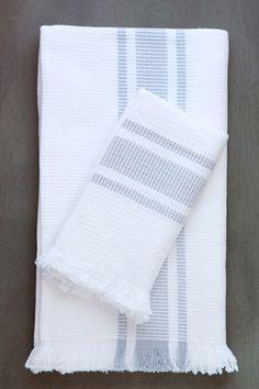 handwoven blockrib towels in cloud grey