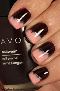 Love the peach polish teamed with the black... Quite dramatic! #nailart #nails #manicure
