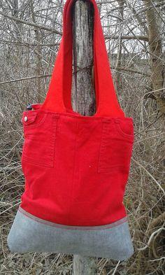 lienka97 / Červená denimka - veľká taška