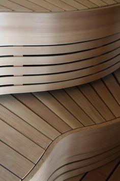 Sauna benches with lovely shape.  #SaunaBenches #Saunanlauteet #Sauna