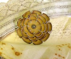 Handmade flower leather brooch or scarf pin in camel by diohej, $18.00