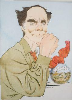 Tullio Pericoli - Italo Calvino 1994 acquerello e china su carta 57x38 cm