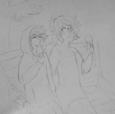 """Day 10 of OTP February, on a date. Here are Alex and Cyanide eating ice cream at a park, a pretty boring date but it's late and I finally got a chance to draw so this is what you get. I did imaging this though: Alex and Cy at a restaurant or something and the waiter comes up and asks Cy, """"would you and your girlfriend like desert"""" and Cy is holding back laughter and has to correct the waiter and Alex is just furious (Alex is a boy for those who didn't know) and when the guy leaves Cy loses…"""