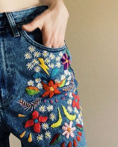 embroidered denim by Tessa Perlow