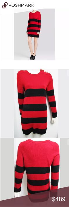 "Moschino NWT Red/Black striped wool sweater dress New With Tags  100% Authentic   Accented with golden buttons at the shoulders, this graphic striped sweater dress from Boutique Moschino makes a cozy-chic statement from work to weekend.  Crewneck, functional gold-tone buttons at shoulder, long raglan sleeves, ribbed, striped, pullover style..  Hand wash or dry clean. Made in Italy.   Fabric Content  100% Wool   MADE IN ITALY   Approximate Measurements Laying Flat Bust:17.5"" Length: 32.5""…"