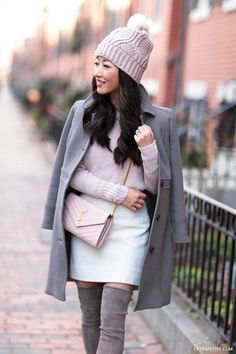 cream, taupe,  blush pink // winter outfit textures and layers