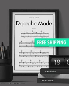 Depeche Mode - Enjoy The Silence Minimalistic music notes print poster Our aproach is to deliver a pure, clean design. From passion to minimalism and belief that simple is beautiful we want to provide this poster to give Your interior some scandinavian spirit.
