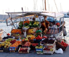 Floating grocery store, Aegina island, Greece