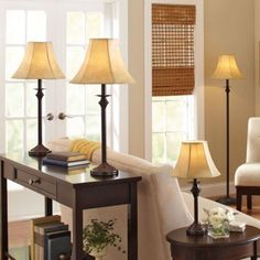 4-Piece Lamp Set Traditional Bronze Finish Light Night Reading Table Lamps Bulb
