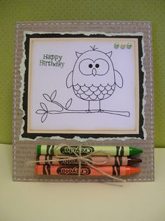 Clever idea!  Coloring book card to send to a child! Love this! It'd be so easy to make!