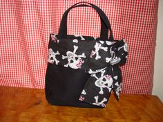 Skull with Bow Small Black Purse Tote with Bow by NecisDesigns, $25.00