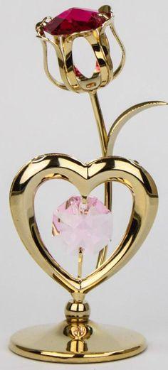 Kristall Glas Rose mit Herz goldfarben MADE WITH SWAROVSKI ELEMENTS - premium-kristall