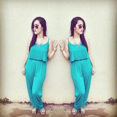 #look #macacão #azul