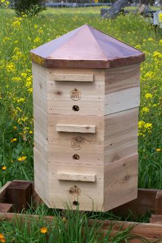 The Hex Hive® Starter Set:  1 Screened Bottom Box  1 Brood Chamber Super with frames  1 Honey Super with frames  1 Copper Peaked Roof/Inner Cover  $450
