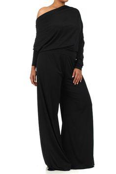 Plus Size Glam Me Jersey Black Pantsuit