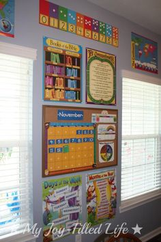 My Joy-Filled Life: Our Homeschool Room Reveal {finally} School Room Vorschule Preschool Rooms, Preschool At Home, Preschool Classroom, Preschool Decor, Preschool Programs, Preschool Printables, Tot School, Middle School, High School