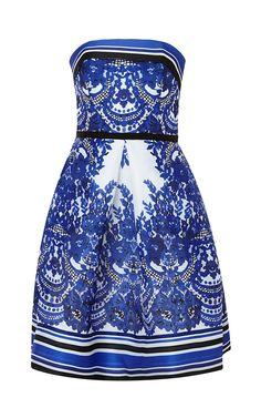 Strapless Floral Print Gazaar Dress by Naeem Khan for Preorder on Moda Operandi